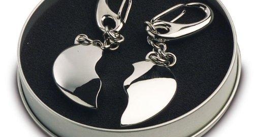 Il portachiavi dell'amore con due pezzi di cuore