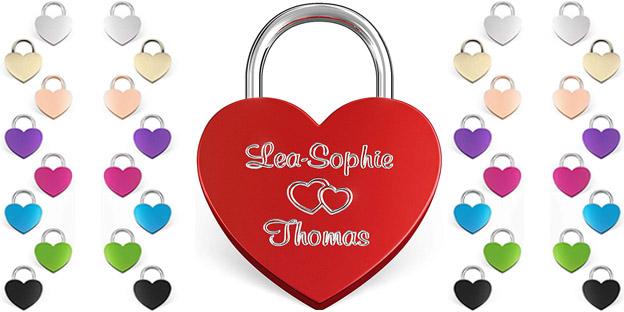 Il lucchetto dell'Amore personalizzato a forma di Cuore